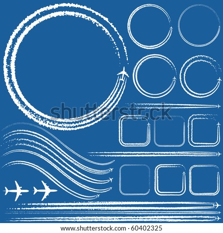Vector illustration of a design elements of aircraft with smoke trails - stock vector
