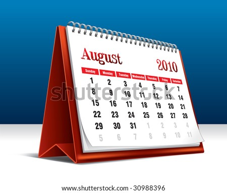 Vector illustration of a 2010 desk calendar showing the month August - stock vector
