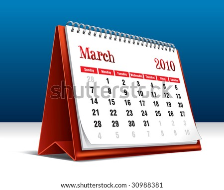 Vector illustration of a 2010 desk calendar showing the month March - stock vector