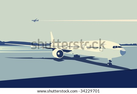 Vector illustration of a detailed airplane on the urban airport scene.  Retro style.