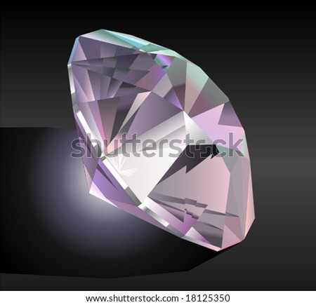 Vector illustration of a diamond on black
