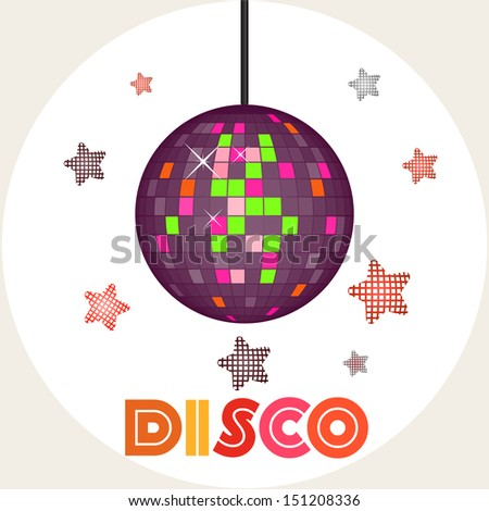 Vector illustration of a disco ball on light background with stars - stock vector