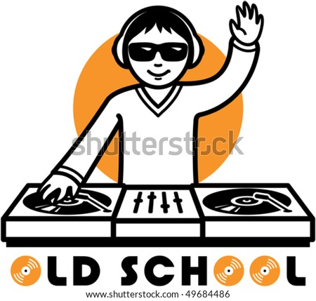 Vector illustration of a DJ at his turntable - stock vector