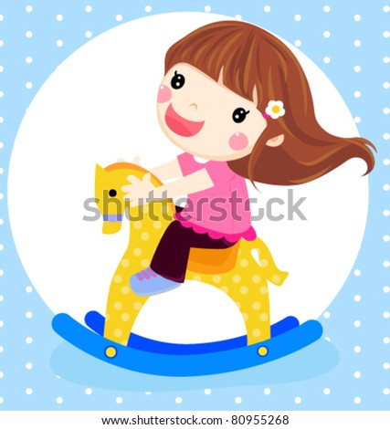 Vector illustration of a dolly girl on rocking horse - stock vector