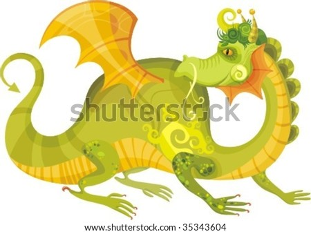 vector illustration of a dragon - stock vector