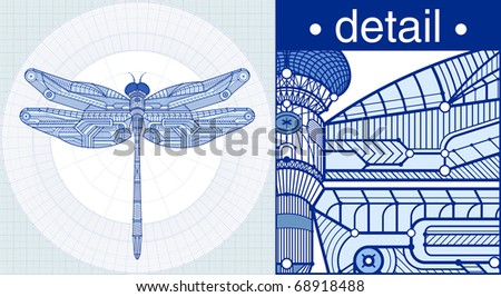 Vector illustration of a dragonfly in a draft style. - stock vector