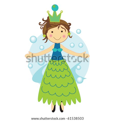 vector illustration of a dressed up mermaid standing front of water and bubbles - stock vector