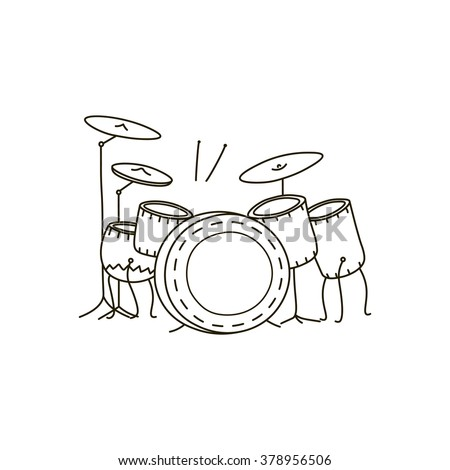 Vector illustration of a drum kit - stock vector