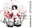 vector illustration of a drummer on grunge background - stock vector