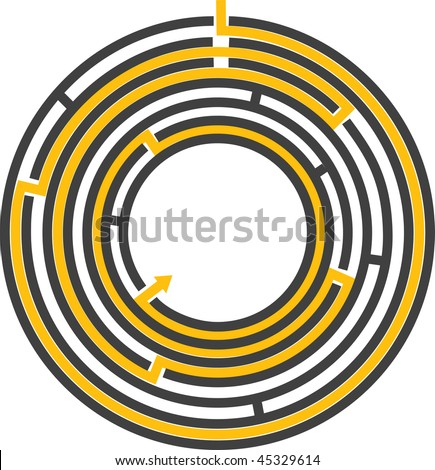 vector illustration of a editable circular maze with escape route that can have effects like 3D transformation added to it - stock vector