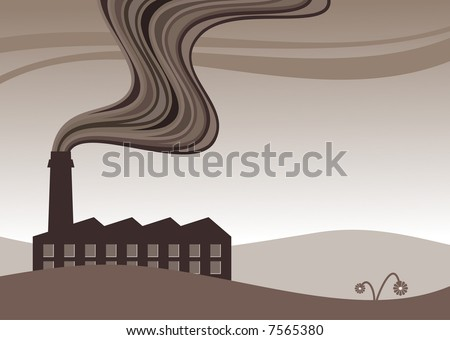 vector illustration of a factory belching out pollution - stock vector