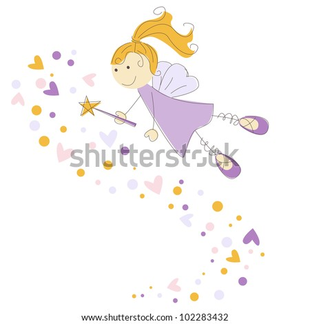 Vector illustration of a fairy with magic stick - stock vector