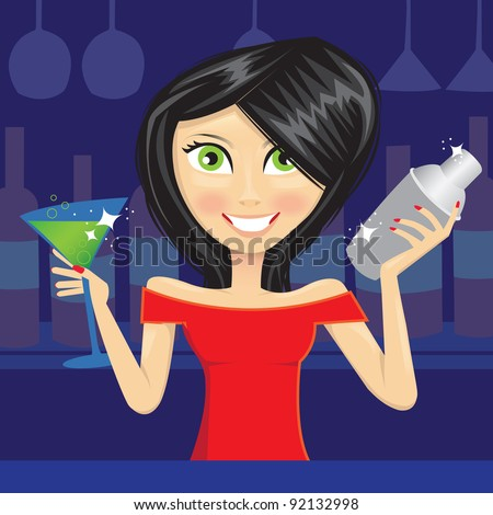 Vector illustration of a female bartender preparing a mixed drink at a bar with several bottles of alcohol and other ingredients behind her. - stock vector