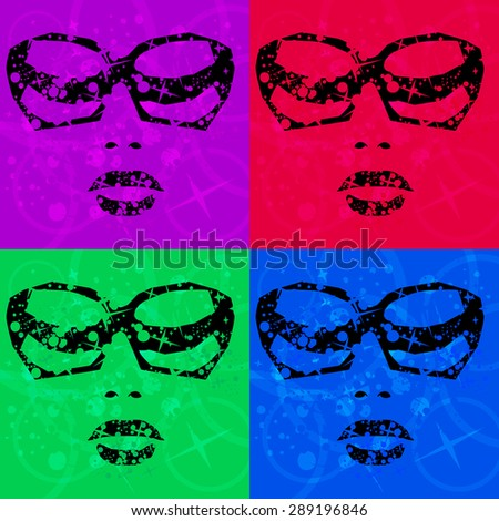 vector illustration of a female portrait with glasses in Disco style - stock vector