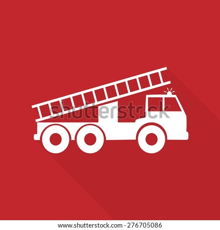 Vector illustration of a fire engine with long shadow - stock vector