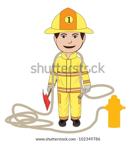 vector illustration of a fire fighter in his uniform, isolated in white background. - stock vector