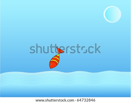 vector illustration of a fish jump out of water