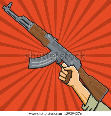 Vector Illustration of a fist holding an assault rifle  in the style of Russian Constructivist propaganda posters. - stock vector