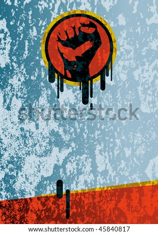 Vector illustration of a fist on grunge background. - stock vector