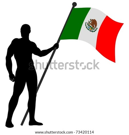 Vector illustration of a flag bearer