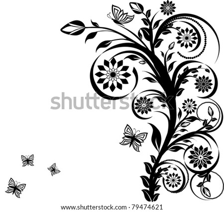 vector illustration of a floral ornament with butterflies. - stock vector