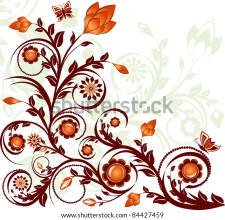 vector illustration of a floral ornament with butterflies - stock vector
