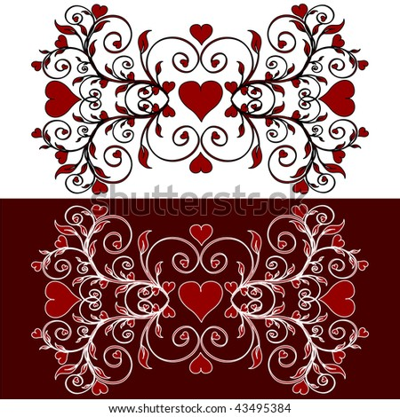 vector illustration of a flower frame with the hearts. valentine's theme