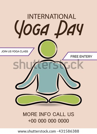 Vector Illustration Of A Flyer And Poster For 21 June International Yoga Day