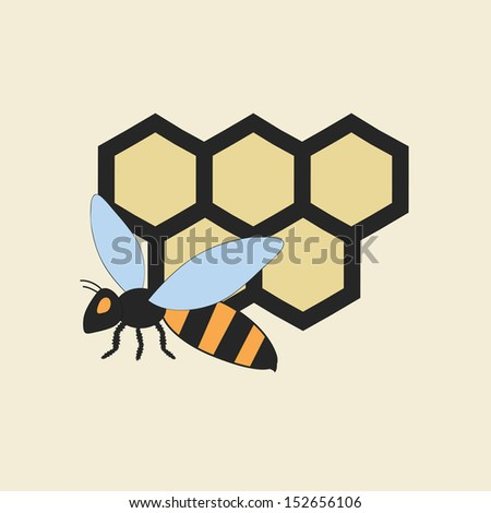 vector illustration of a flying bee