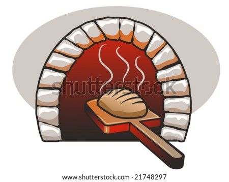 vector illustration of a fresh loaf of bread and a bread oven - stock vector