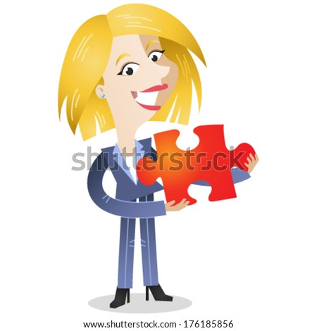 Vector illustration of a friendly looking cartoon business woman holding a red jigsaw piece (JPEG version also available in my gallery).  - stock vector
