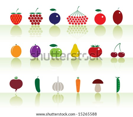 Vector illustration of a fruits and vegetables. - stock vector