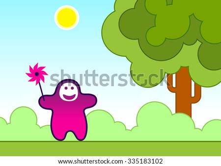 Vector illustration of a funny child with a wind toy. Can be easily colored and used in your design. - stock vector