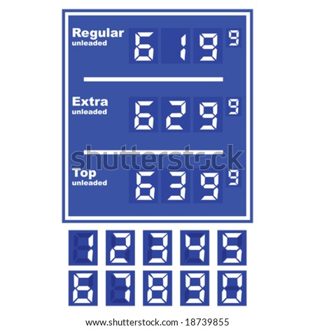Vector illustration of a gas station price display, with separate numbers for changing prices - stock vector