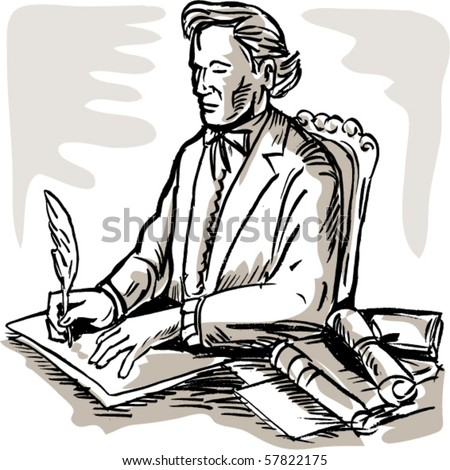vector illustration of a gentleman signing a document with a quill pen