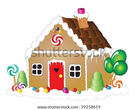 Vector illustration of a gingerbread house against white background - stock vector