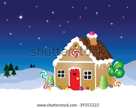 Vector illustration of a gingerbread house snow scene with star filled sky. - stock vector