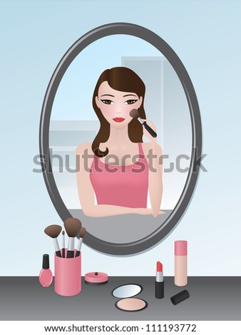 Vector illustration of a girl doing her makeup in the mirror. - stock vector