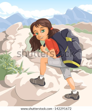 Vector illustration of a girl hiking the highlands - stock vector