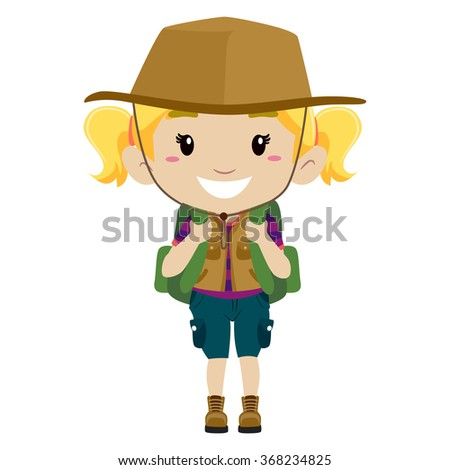 Vector Illustration Of A Girl In Camping Costume