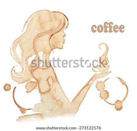 Vector illustration of a girl profile. Young woman holding a cup of tea or coffee. - stock vector