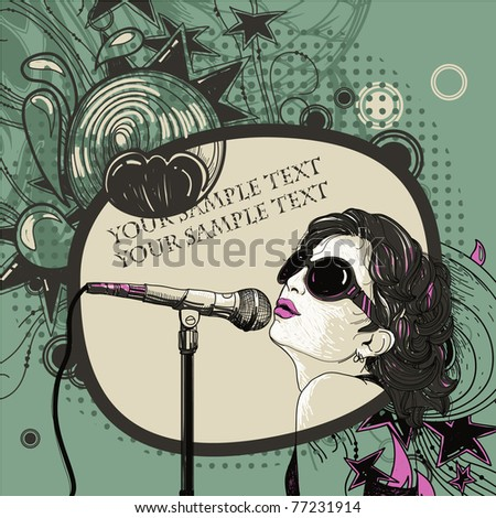 Vector illustration of a girl singing on an abstract vintage background with fantasy waves and stars - stock vector