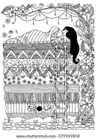 princess and the pea coloring page. vector illustration of a girl, the princess and pea zentangl, dudling, doodles coloring page