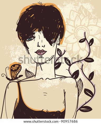vector illustration of a girl with a butterfly on a floral background - stock vector