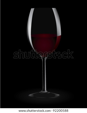 Vector Illustration of a glass of red wine on a black background.