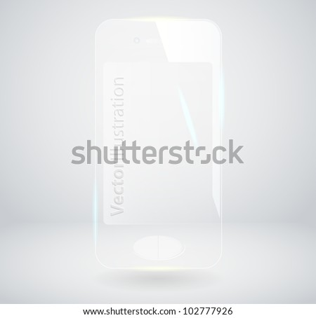 Vector Illustration of a Glass Smart Phone - stock vector