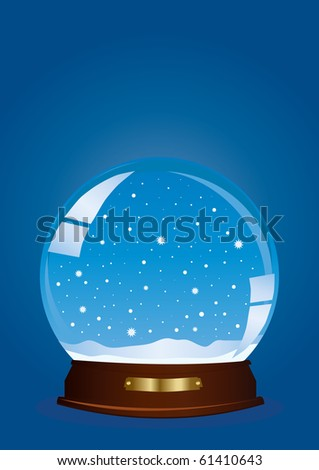 Vector illustration of a globe with falling snow against blue background - stock vector