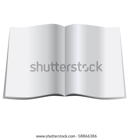 Vector - Illustration of a glossy blank magazine or journal spread open - stock vector
