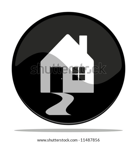 vector illustration of a glossy button icon of a house - stock vector