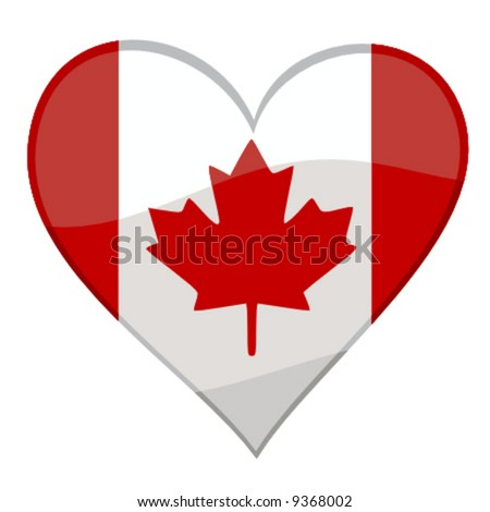 vector illustration of a glossy icon of a canadian flag in form of a heart - stock vector